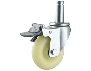 Medium Duty Nylon Caster Round Stem with Brake